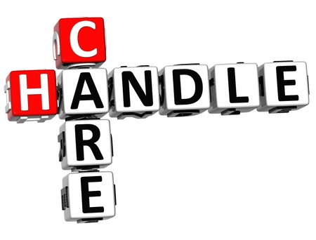 handle with care: 3D Care Handle Crossword on white background Stock Photo