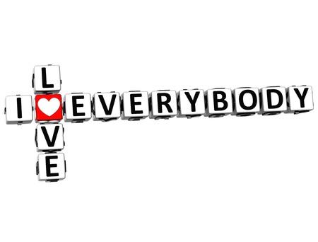 everybody: 3D I Love Everybody Crossword on white background