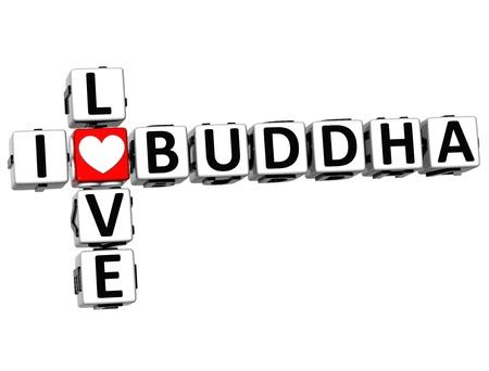 god box: 3D I Love Buddha Crossword on white background Stock Photo