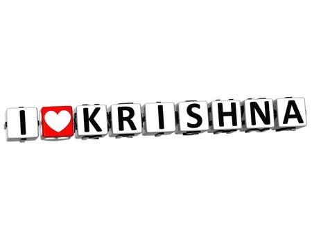 god box: 3D I Love Krishna Button Click Here Block Text over white background
