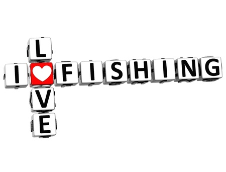 theather: 3D I Love Fishing Crossword on white background Stock Photo