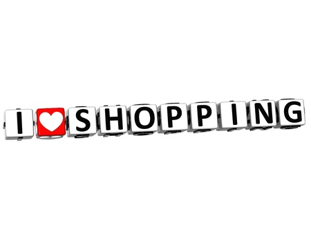 3D I Love Shopping Button Click Here Block Text over white background Stock Photo - 15095995