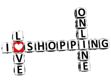 3D I Love Online Shopping Crossword on white background Stock Photo - 15096153