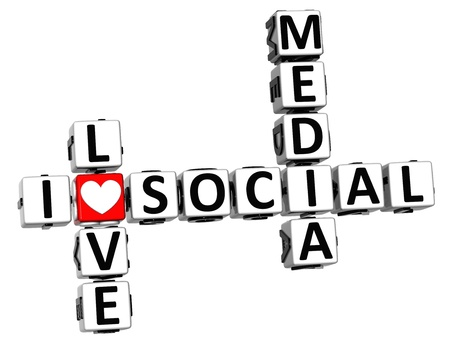 3D I Love Social Media Crossword on white background Stock Photo - 15096160