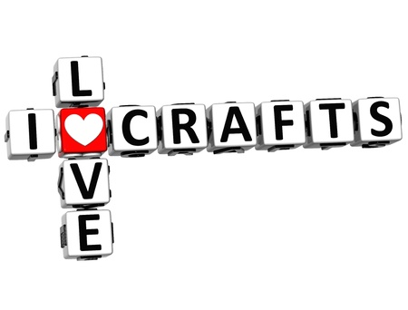theather: 3D I Love Crafts Crossword on white background