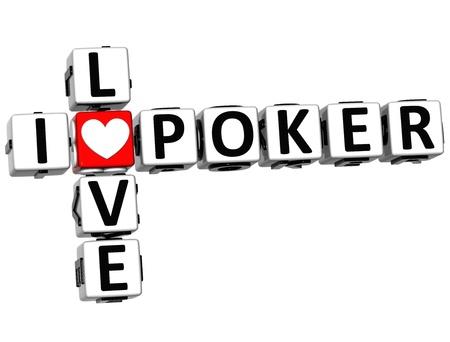 theather: 3D I Love Poker Crossword on white background