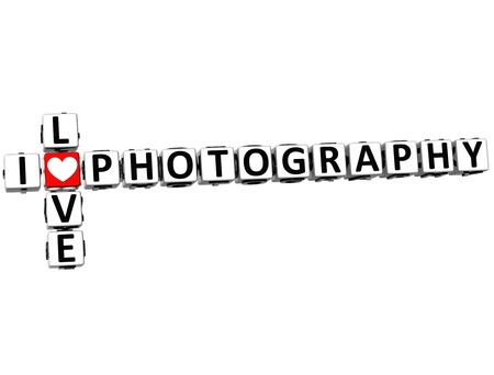 theather: 3D I Love Photography Crossword on white background