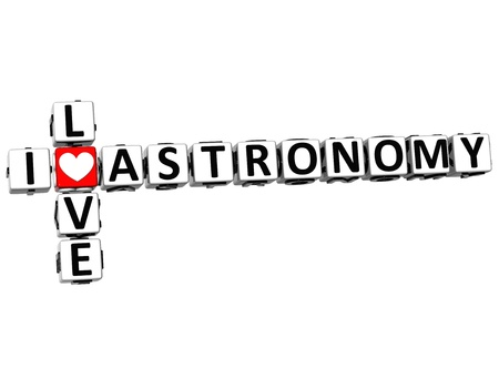theather: 3D I Love Astronomy Crossword on white background