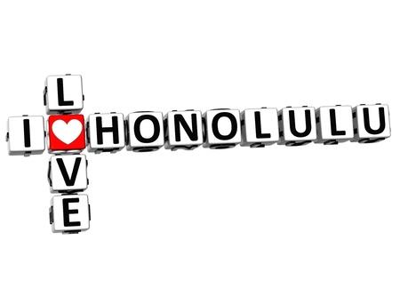 3D I Love Honolulu Crossword on white background