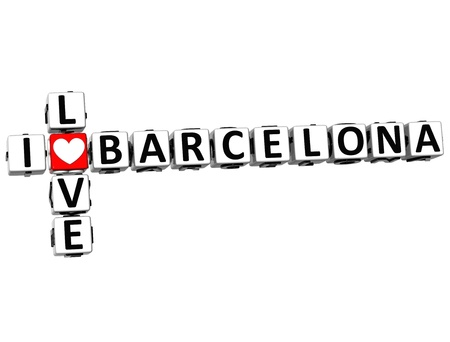 3D I Love Barcelona Crossword on white background photo