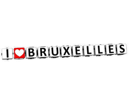 ling: 3D I Love Bruxelles Button Click Here Block Text over white background