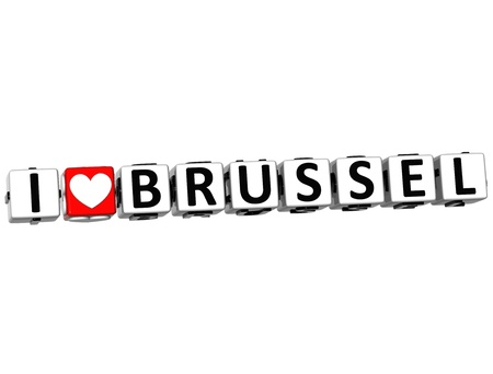 3D I Love Brussel Button Click Here Block Text over white background photo
