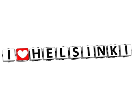 ling: 3D I Love Helsinki Button Click Here Block Text over white background