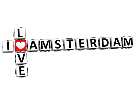 3D I Love Amsterdam Crossword on white background photo