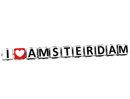 3D I Love Amsterdam Button Click Here Block Text over white background photo