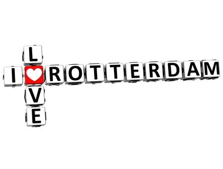 3D I Love Rotterdam Crossword on white background photo