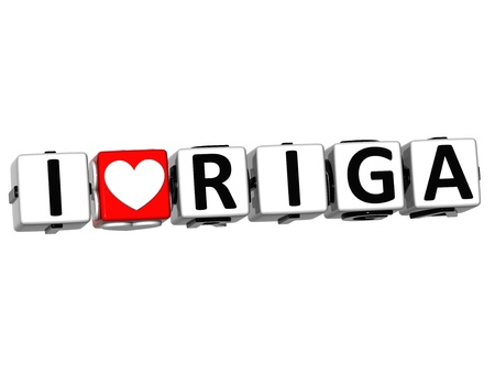 3D I Love Riga Button Click Here Block Text over white background photo