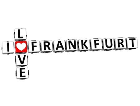 ling: 3D I Love Frankfurt Crossword on white background