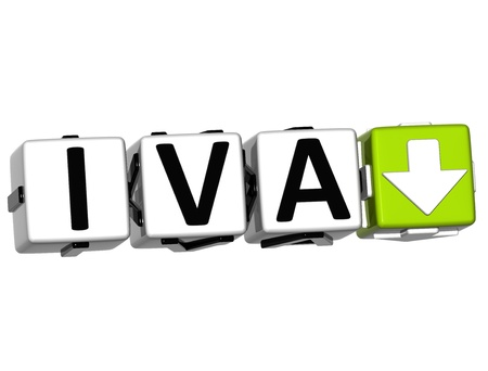 levied: 3D VAT In Spanish Language Button Click Here Block Text over white background