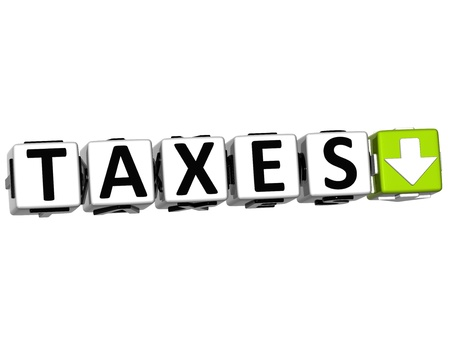 3D TAXES Button Click Here Block Text over white background photo