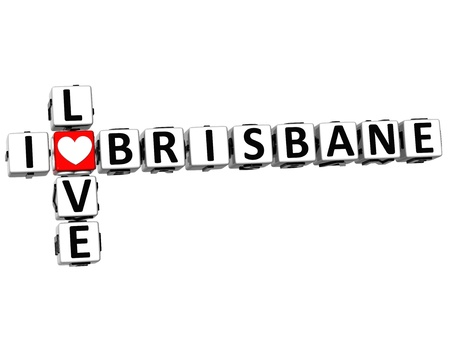 3D I Love Brisbane Crossword on white background photo