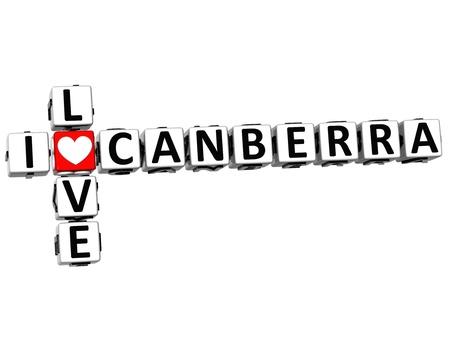 canberra: 3D I Love Canberra Crossword on white background