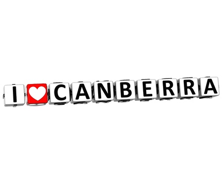 canberra: 3D I Love Canberra Button Click Here Block Text over white background Stock Photo