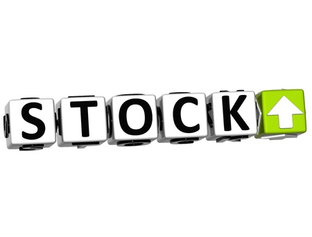 3D Stock Button Click Here Block Text over white background Stock Photo - 15096193