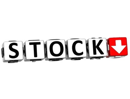 3D Stock Button Click Here Block Text over white background Stock Photo - 15096194