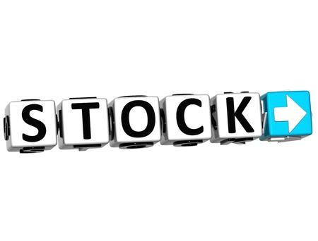 3D Stock Button Click Here Block Text over white background Stock Photo - 15096195