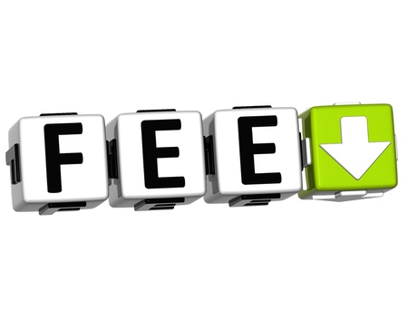 fee: 3D Fee Button Click Here Block Text over white background
