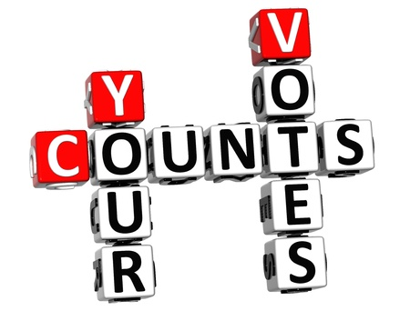 3D Counts Your Votes Crossword on white background Stock Photo - 15096262
