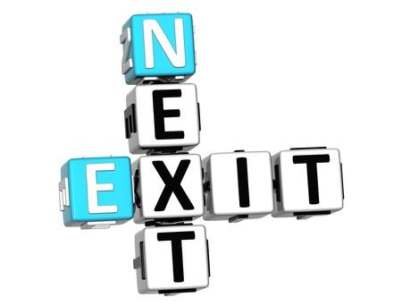 3D Next Exit Crossword on white background Stock Photo - 15096255