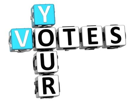 voting box: Il 3D Crossword Voti su sfondo bianco Archivio Fotografico