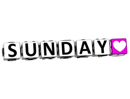 3D Love Sunday Button Click Here Block Text over white background Standard-Bild