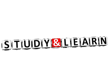 3D Study And Learn Button Click Here Block Text over white background photo