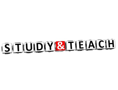 3D Study And Teach Button Click Here Block Text over white background photo