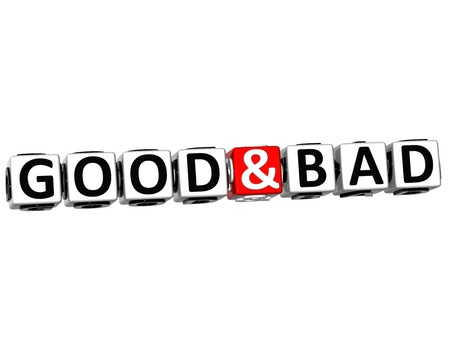 3D Good And Bad Button Click Here Block Text over white background Stock Photo - 15490036