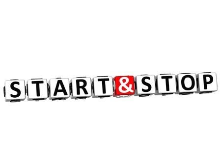 3D Start And Stop Button Click Here Block Text over white background photo
