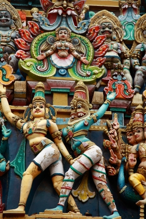 kali: Kali image. Sculptures on Hindu temple gopura (tower). Menakshi Temple, Madurai, Tamil Nadu, India
