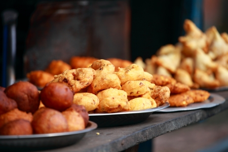 street vendor: Traditional India food on the street. Stock Photo