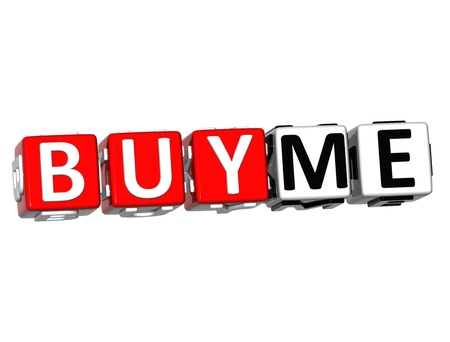 3D Buy Me Button Click Here Block Text over white background