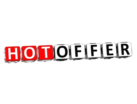 3D Hot Offer Button Click Here Block Text over white background Stock Photo - 16379847