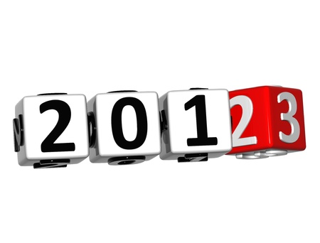 3D 2013 Button Click Here Block Text over white background