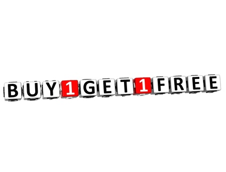 3D Buy One Get One Free Button Click Here Block Text over white background photo