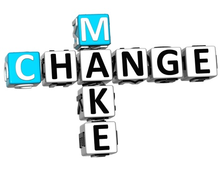 3D Make Change Crossword on white background photo