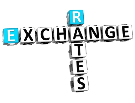 3D Rates Exchange Crossword on white background photo
