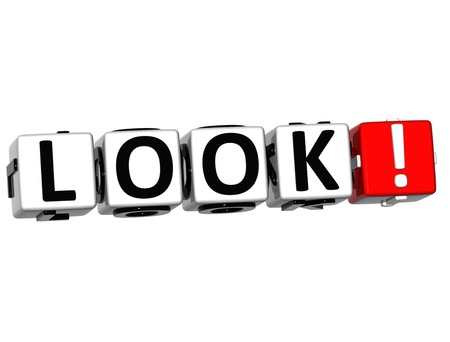 looked: 3D Look ! Button Click Here Block Text over white background
