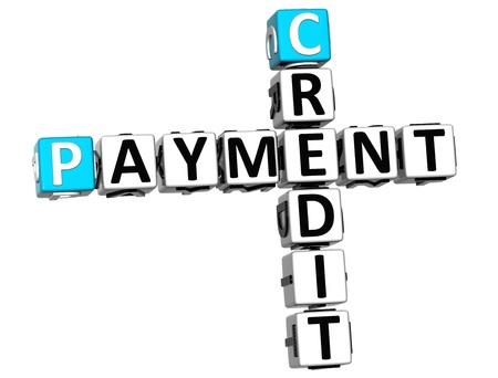 3D Credit Payment Crossword on white background photo
