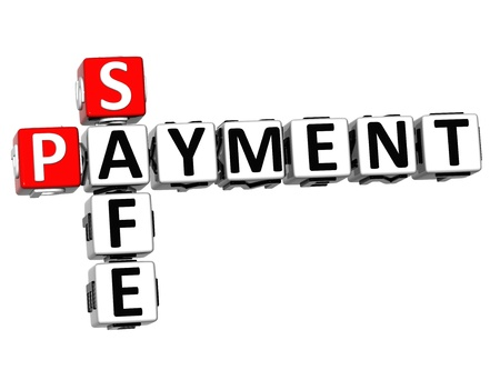 3D Safe Payment Crossword on white background photo